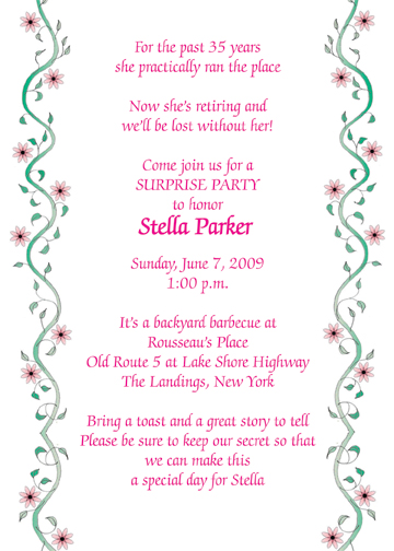 Retirement Party Invitation, Style RPI-15