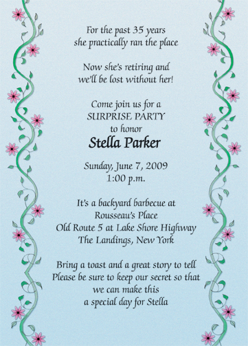 Retirement party invitation flat card style rpi 16