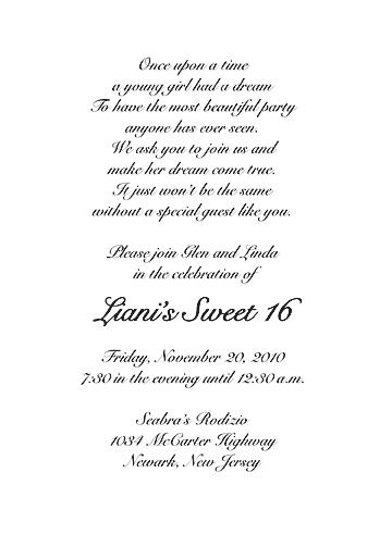 Sweet Sixteen Invitation, Style 1 Sample B